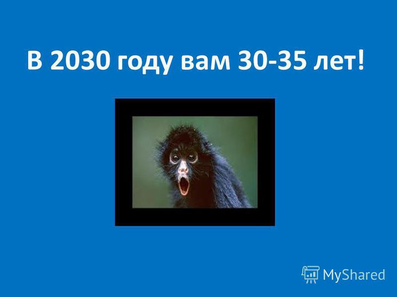 В 2030 году вам 30-35 лет!