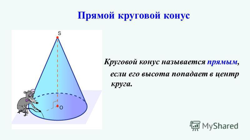 Прямой круговой конус Круговой конус называется прямым, если его высота попадает в центр круга.