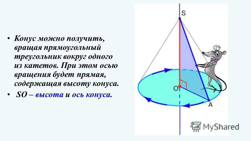 Конус можно получить, вращая прямоугольный треугольник вокруг одного из катетов. При этом осью вращения будет прямая, содержащая высоту конуса. SO – высота и ось конуса.