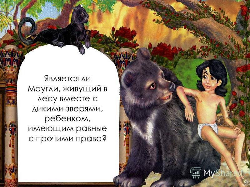 Является ли Маугли, живущий в лесу вместе с дикими зверями, ребенком, имеющим равные с прочими права?