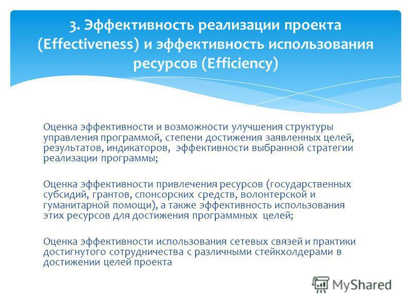 Оценка эффективности и возможности улучшения структуры управления программой, степени достижения заявленных целей, результатов, индикаторов, эффективности выбранной стратегии реализации программы; Оценка эффективности привлечения ресурсов (государств