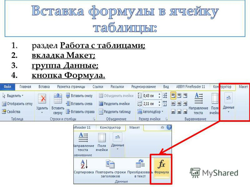 1.раздел 1.раздел Работа с таблицами; 2. 2.вкладка Макет; 3. 3.группа Данные; 4. 4.кнопка Формула.
