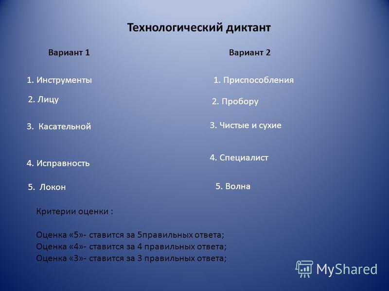 Технологический диктант Вариант 1Вариант 2 1. Инструменты 1. Приспособления 2. Лицу 2. Пробору 3. Касательной 3. Чистые и сухие 4. Исправность 4. Специалист Критерии оценки : Оценка «5»- ставится за 5 правильных ответа; Оценка «4»- ставится за 4 прав