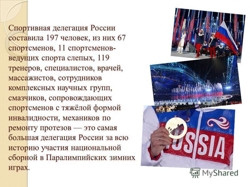 Спортивная делегация России составила 197 человек, из них 67 спортсменов, 11 спортсменов- ведущих спорта слепых, 119 тренеров, специалистов, врачей, массажистов, сотрудников комплексных научных групп, смазчиков, сопровождающих спортсменов с тяжёлой ф