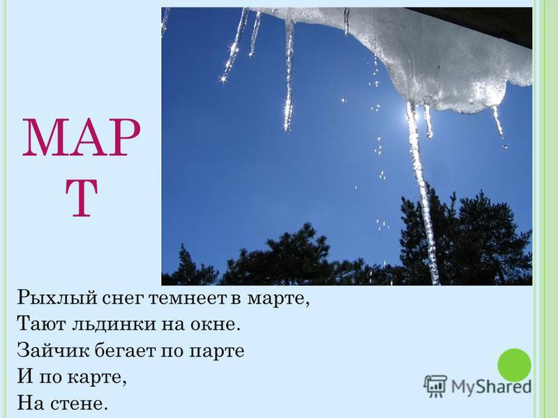 МАР Т Рыхлый снег темнеет в марте, Тают льдинки на окне. Зайчик бегает по парте И по карте, На стене.
