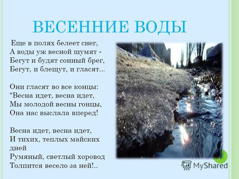 ВЕСЕННИЕ ВОДЫ Еще в полях белеет снег, А воды уж весной шумят - Бегут и будят сонный брег, Бегут, и блещут, и гласят... Они гласят во все концы: