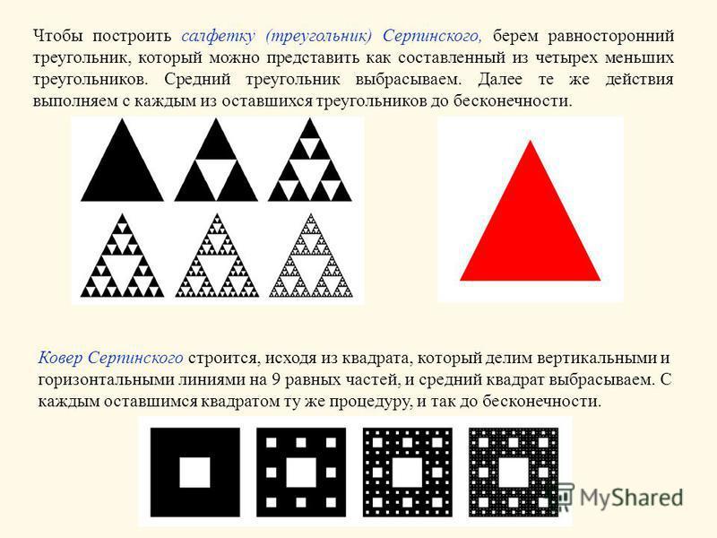 Чтобы построить салфетку (треугольник) Серпинского, берем равносторонний треугольник, который можно представить как составленный из четырех меньших треугольников. Средний треугольник выбрасываем. Далее те же действия выполняем с каждым из оставшихся