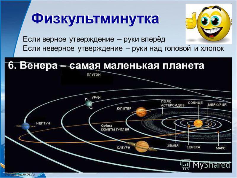 Физкультминутка Если верное утверждение – руки вперёд Если неверное утверждение – руки над головой и хлопок 6. Венера – самая маленькая планета