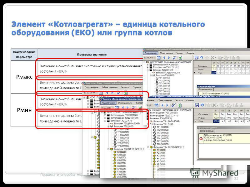 Правила и способы моделирования генерирующего оборудования с использованием ПК «MODES – Terminal» 32 Элемент «Котлоагрегат» – единица котельного оборудования (ЕКО) или группа котлов