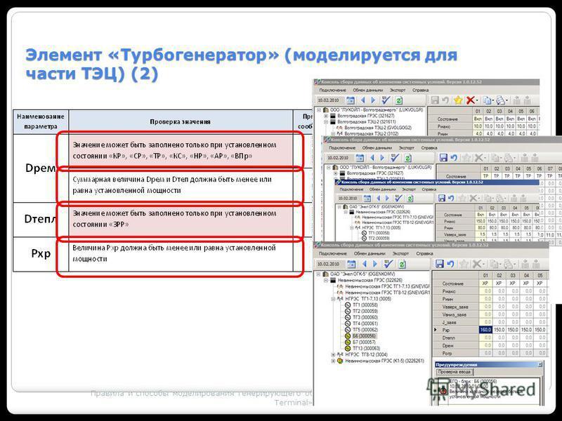 Правила и способы моделирования генерирующего оборудования с использованием ПК «MODES – Terminal» 34 Элемент «Турбогенератор» (моделируется для части ТЭЦ) (2)