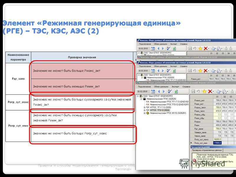 Правила и способы моделирования генерирующего оборудования с использованием ПК «MODES – Terminal» 37 Элемент «Режимная генерирующая единица» (РГЕ) – ТЭС, КЭС, АЭС (2)