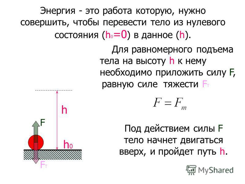 Энергия - это работа которую, нужно совершить, чтобы перевести тело из нулевого состояния (h 0 =0 ) в данное (h). h h0h0 Для равномерного подъема тела на высоту h к нему необходимо приложить силу F, равную силе тяжести F Т FТFТ F Под действием силы F