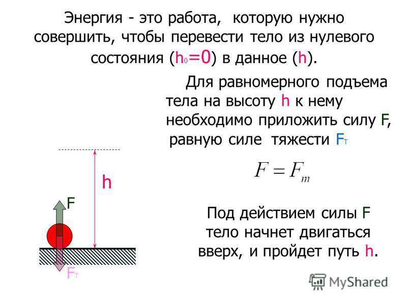 Энергия - это работа, которую нужно совершить, чтобы перевести тело из нулевого состояния (h 0 =0 ) в данное (h). h Для равномерного подъема тела на высоту h к нему необходимо приложить силу F, равную силе тяжести F Т FТFТ F Под действием силы F тело