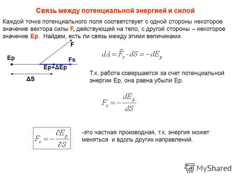 Связь между потенциальной энергией и силой Ер Каждой точке потенциального поля соответствует с одной стороны некоторое значение вектора силы F, действующей на тело, с другой стороны – некоторое значение Ер. Найдем, есть ли связь между этими величинам