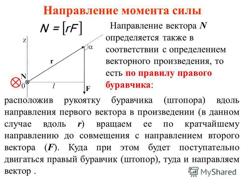 Направление момента силы Направление вектора N определяется также в соответствии с определением векторного произведения, то есть по правилу правого буравчика: расположив рукоятку буравчика (штопора) вдоль направления первого вектора в произведении (в