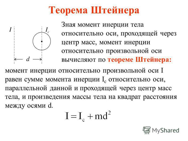 Теорема Штейнера Зная момент инерции тела относительно оси, проходящей через центр масс, момент инерции относительно произвольной оси вычисляют по теореме Штейнера: момент инерции относительно произвольной оси I равен сумме момента инерции I c относи