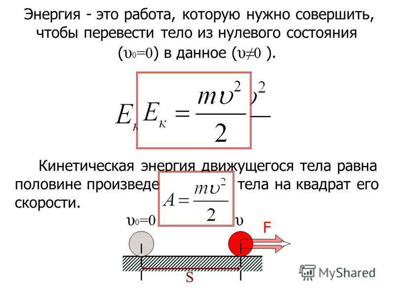υυ 0 =0 S F Кинетическая энергия движущегося тела равна половине произведения массы тела на квадрат его скорости. Энергия - это работа, которую нужно совершить, чтобы перевести тело из нулевого состояния ( υ 0 =0 ) в данное ( υ0 ).