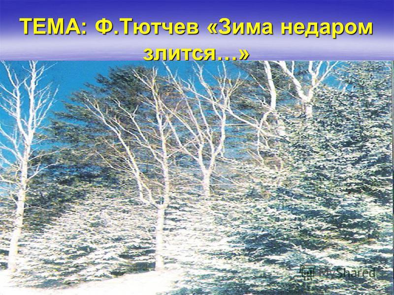 ТЕМА: Ф.Тютчев «Зима недаром злится…»