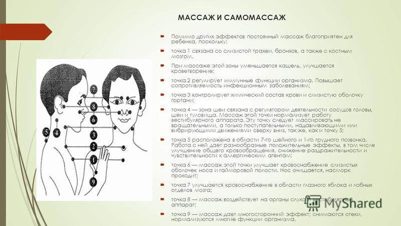 МАССАЖ И САМОМАССАЖ Помимо других эффектов постоянный массаж благоприятен для ребенка, поскольку: точка 1 связана со слизистой трахеи, бронхов, а также с костным мозгом. При массаже этой зоны уменьшается кашель, улучшается кроветворение; точка 2 регу