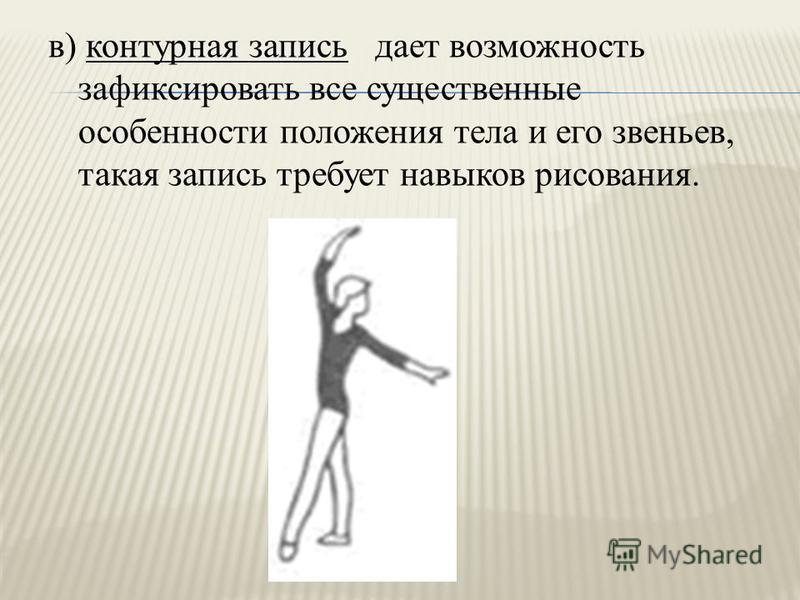 в) контурная запись дает возможность зафиксировать все существенные особенности положения тела и его звеньев, такая запись требует навыков рисования.