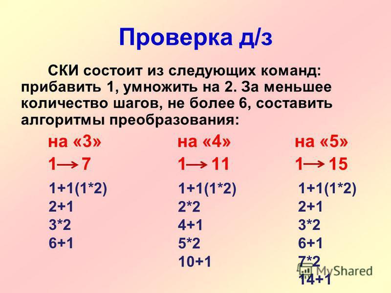 Проверка д/з СКИ состоит из следующих команд: прибавить 1, умножить на 2. За меньшее количество шагов, не более 6, составить алгоритмы преобразования: на «3» на «4» на «5» 1 71 111 15 1+1(1*2) 2+1 3*2 6+1 1+1(1*2) 2*2 4+1 5*2 10+1 1+1(1*2) 2+1 3*2 6+