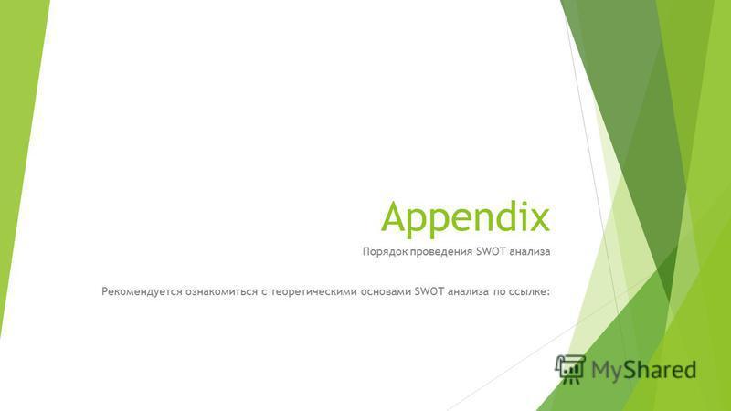 Appendix Порядок проведения SWOT анализа Рекомендуется ознакомиться с теоретическими основами SWOT анализа по ссылке: