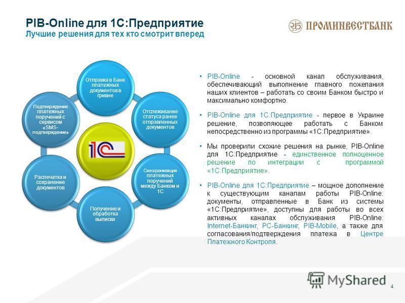 4 PIB-Online - основной канал обслуживания, обеспечивающий выполнение главного пожелания наших клиентов – работать со своим Банком быстро и максимально комфортно. PIB-Online для 1С:Предприятие - первое в Украине решение, позволяющее работать с Банком