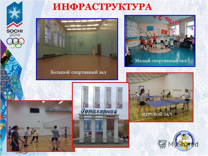 ИНФРАСТРУКТУРА Большой спортивный зал Малый спортивный зал ИГРОВОЙ ЗАЛ