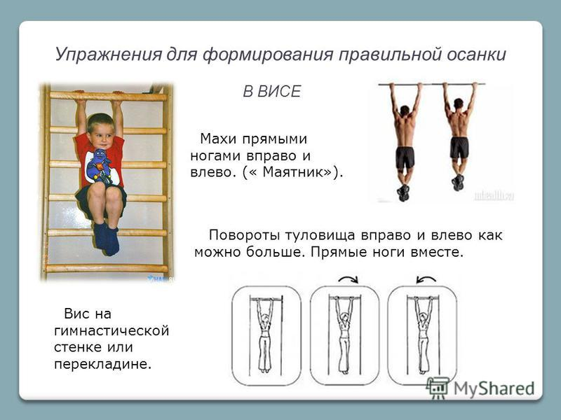 Упражнения для формирования правильной осанки В ВИСЕ Махи прямыми ногами вправо и влево. (« Маятник»). Повороты туловища вправо и влево как можно больше. Прямые ноги вместе. Вис на гимнастической стенке или перекладине.
