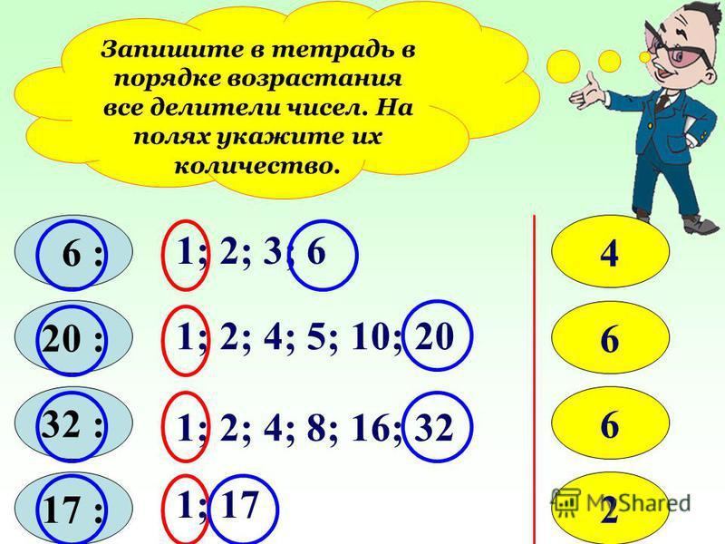 Запишите в тетрадь в порядке возрастания все делители чисел. На полях укажите их количество. 6 : 20 : 32 : 17 : 1; 2; 3; 6 4 1; 2; 4; 5; 10; 20 6 1; 2; 4; 8; 16; 32 6 1; 17 2