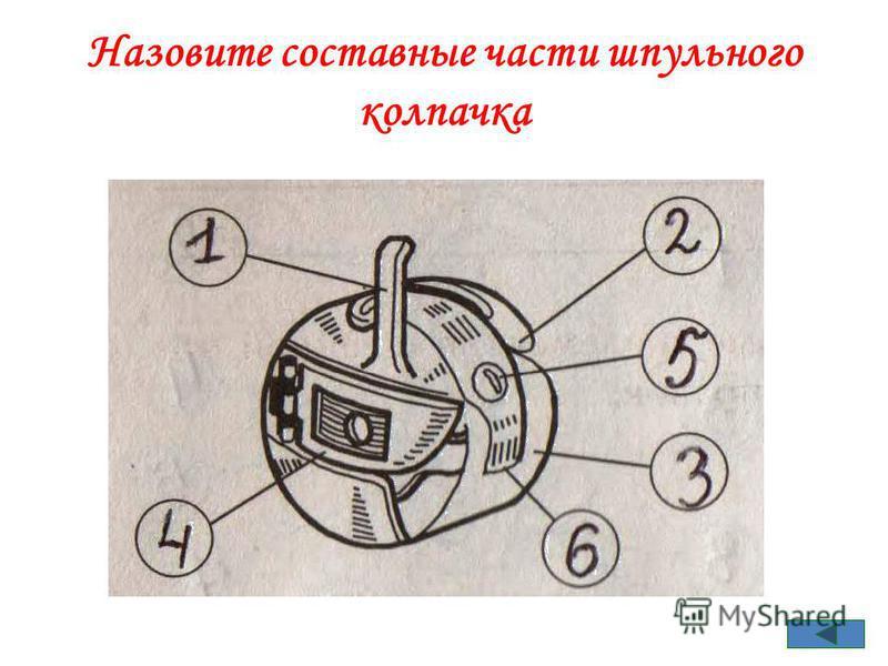 Назовите составные части шпульного колпачка