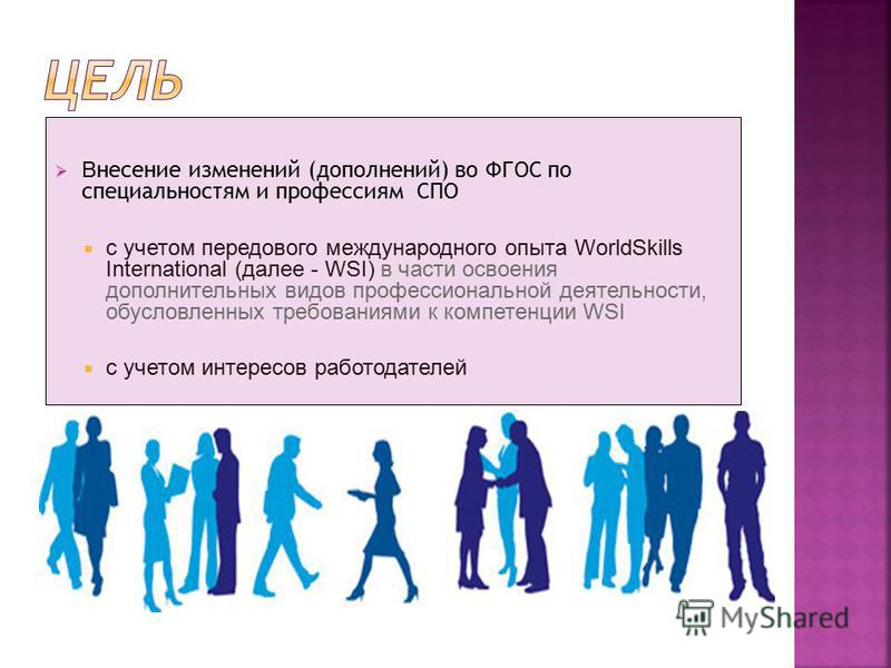 В несение изменений (дополнений) во ФГОС по специальностям и профессиям СПО с учетом передового международного опыта WorldSkills International (далее - WSI) в части освоения дополнительных видов профессиональной деятельности, обусловленных требования