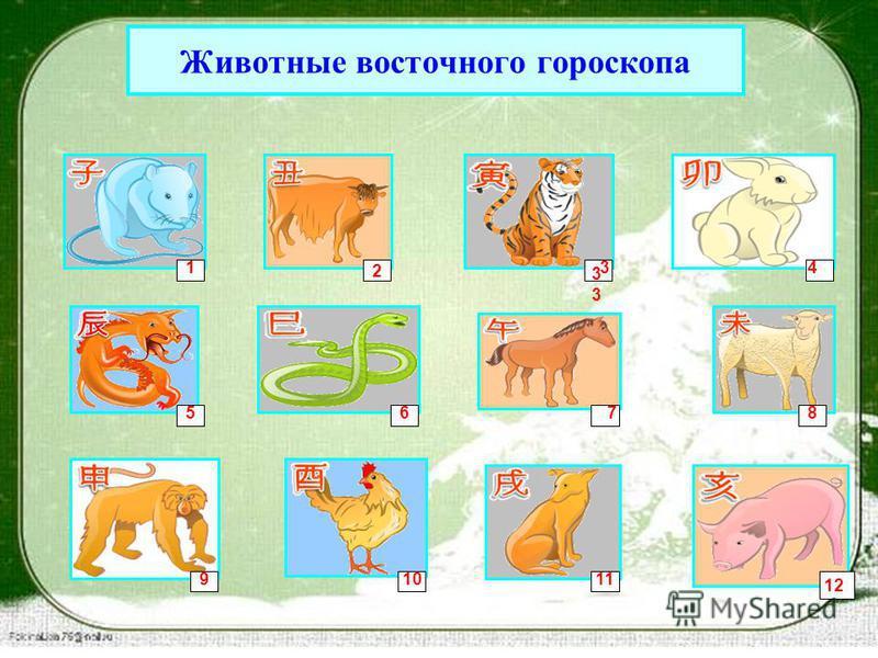 Животные восточного гороскопа 2 1 3 34 5678 91011 12
