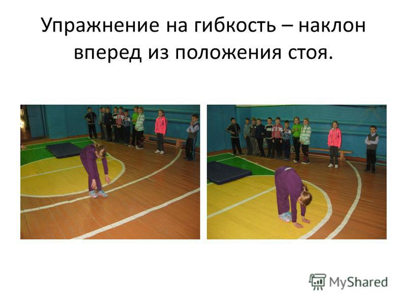 Упражнение на гибкость – наклон вперед из положения стоя.