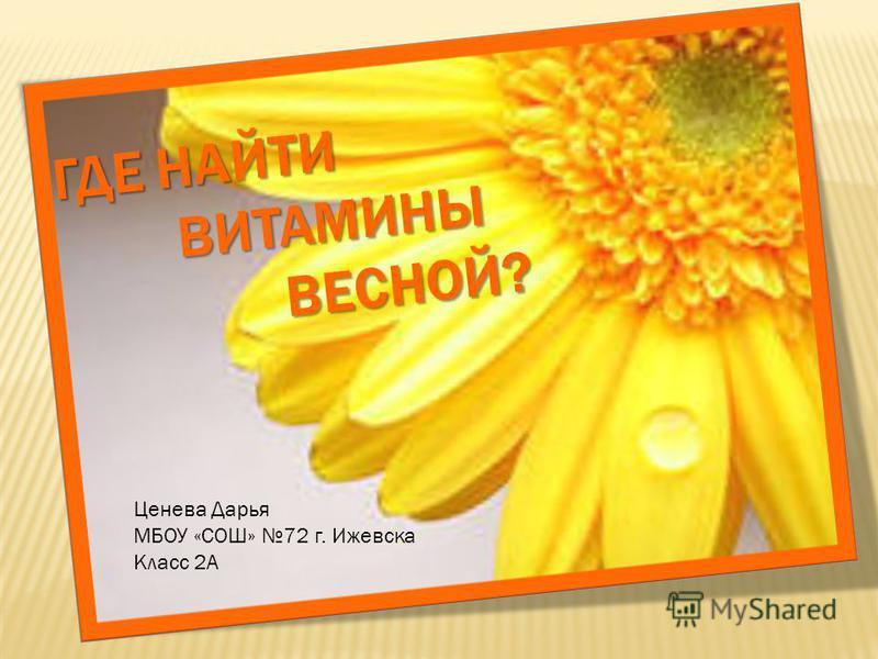 ГДЕ НАЙТИ ВИТАМИНЫ ВЕСНОЙ? Ценева Дарья МБОУ «СОШ» 72 г. Ижевска Класс 2А
