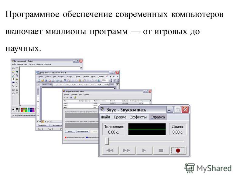 Программное обеспечение современных компьютеров включает миллионы программ от игровых до научных.