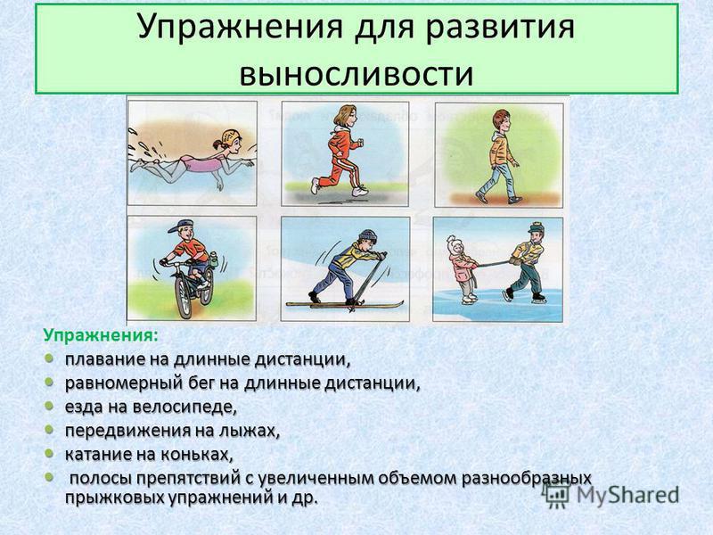 Упражнения для развития выносливости Упражнения: плавание на длинные дистанции, плавание на длинные дистанции, равномерный бег на длинные дистанции, равномерный бег на длинные дистанции, езда на велосипеде, езда на велосипеде, передвижения на лыжах,