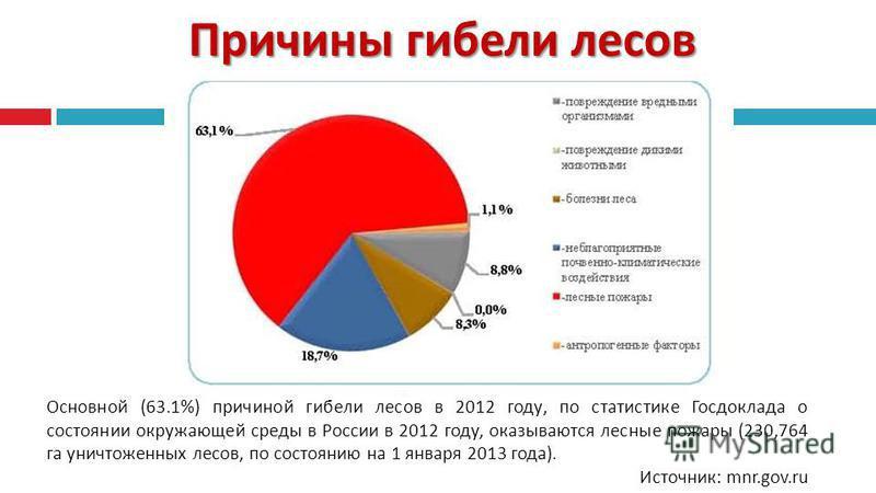 Причины гибели лесов Основной (63.1%) причиной гибели лесов в 2012 году, по статистике Госдоклада о состоянии окружающей среды в России в 2012 году, оказываются лесные пожары (230,764 га уничтоженных лесов, по состоянию на 1 января 2013 года ). Источ