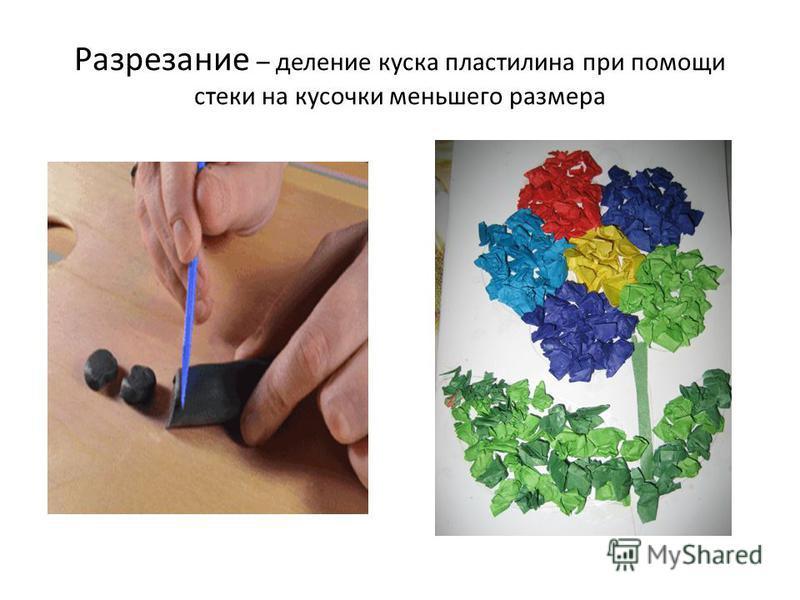 Разрезание – деление куска пластилина при помощи стеки на кусочки меньшего размера