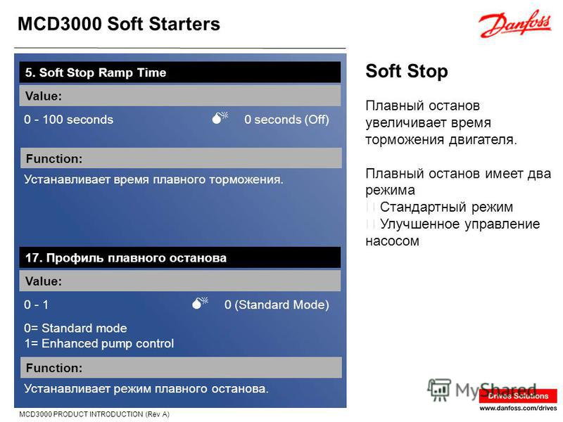 MCD3000 Soft Starters MCD3000 PRODUCT INTRODUCTION (Rev A) Soft Stop 5. Soft Stop Ramp Time Value: 0 - 100 seconds 0 seconds (Off) Function: Устанавливает время плавного торможения. Плавный останов увеличивает время торможения двигателя. Плавный оста