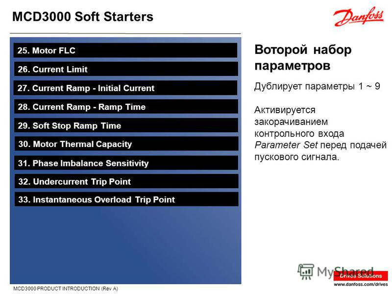 MCD3000 Soft Starters MCD3000 PRODUCT INTRODUCTION (Rev A) Воторой набор параметров 25. Motor FLC 26. Current Limit 27. Current Ramp - Initial Current 28. Current Ramp - Ramp Time 29. Soft Stop Ramp Time 30. Motor Thermal Capacity 31. Phase Imbalance