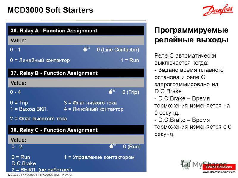 MCD3000 Soft Starters MCD3000 PRODUCT INTRODUCTION (Rev A) Программируемые релейные выходы 36. Relay A - Function Assignment Value: 0 - 1 0 (Line Contactor) 0 = Линейный контактор 1 = Run Реле C автоматически выключается когда: - Задано время плавног