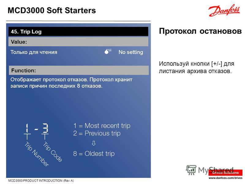 MCD3000 Soft Starters MCD3000 PRODUCT INTRODUCTION (Rev A) Протокол остановов 45. Trip Log Value: Только для чтения No setting Function: Отображает протокол отказов. Протокол хранит записи причин последних 8 отказов. Используй кнопки [+/-] для листан