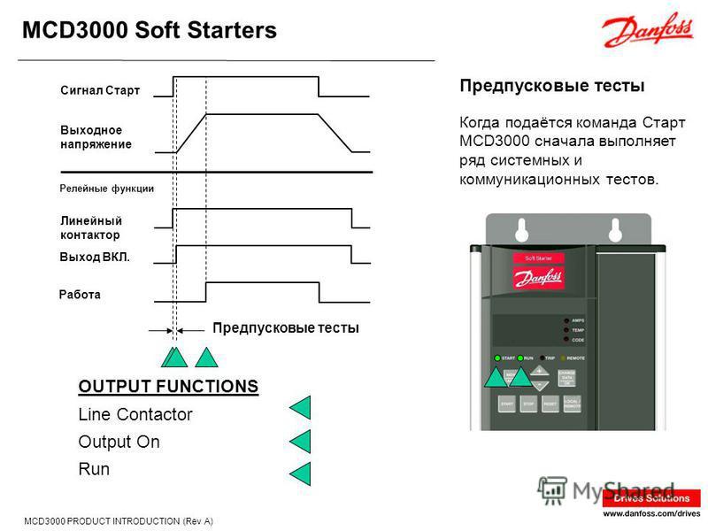 MCD3000 Soft Starters MCD3000 PRODUCT INTRODUCTION (Rev A) Когда подаётся команда Старт MCD3000 сначала выполняет ряд системных и коммуникационных тестов. Предпусковые тесты OUTPUT FUNCTIONS Line Contactor Output On Run Предпусковые тесты Сигнал Стар