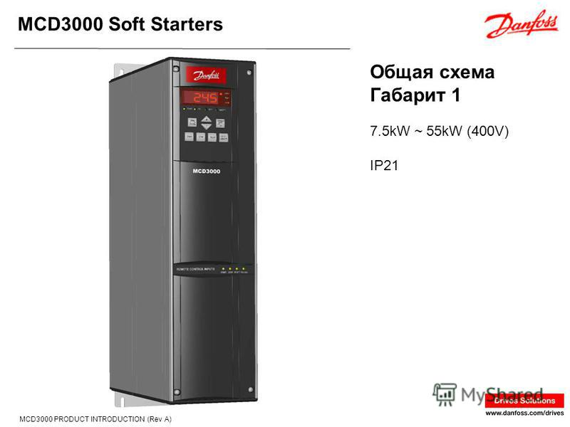 MCD3000 Soft Starters MCD3000 PRODUCT INTRODUCTION (Rev A) 7.5kW ~ 55kW (400V) IP21 Общая схема Габарит 1
