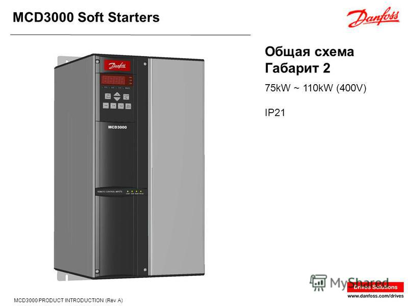 MCD3000 Soft Starters MCD3000 PRODUCT INTRODUCTION (Rev A) Общая схема Габарит 2 75kW ~ 110kW (400V) IP21