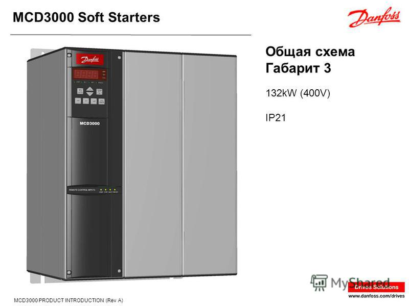 MCD3000 Soft Starters MCD3000 PRODUCT INTRODUCTION (Rev A) 132kW (400V) IP21 Общая схема Габарит 3