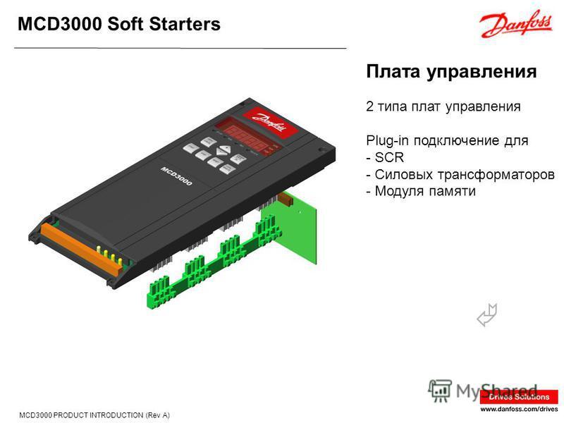 MCD3000 Soft Starters MCD3000 PRODUCT INTRODUCTION (Rev A) 2 типа плат управления Plug-in подключение для - SCR - Силовых трансформаторов - Модуля памяти Плата управления