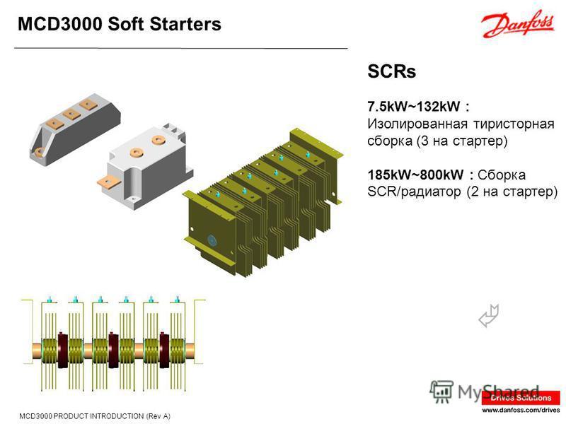 MCD3000 Soft Starters MCD3000 PRODUCT INTRODUCTION (Rev A) 7.5kW~132kW : Изолированная тиристорная сборка (3 на стартер) 185kW~800kW : Сборка SCR/радиатор (2 на стартер) SCRs