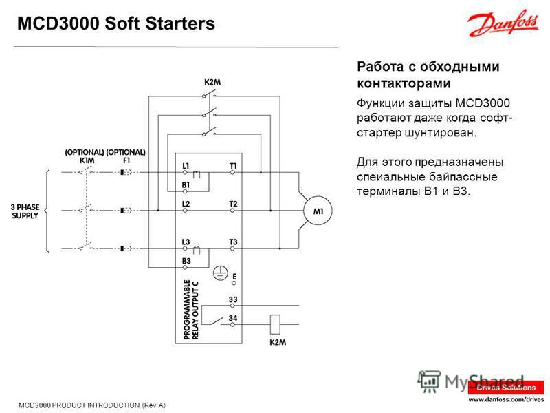 MCD3000 Soft Starters MCD3000 PRODUCT INTRODUCTION (Rev A) Функции защиты MCD3000 работают даже когда софт- стартер шунтирован. Для этого предназначены спеиальные байпассные терминалы B1 и B3. Работа с обходными контакторами